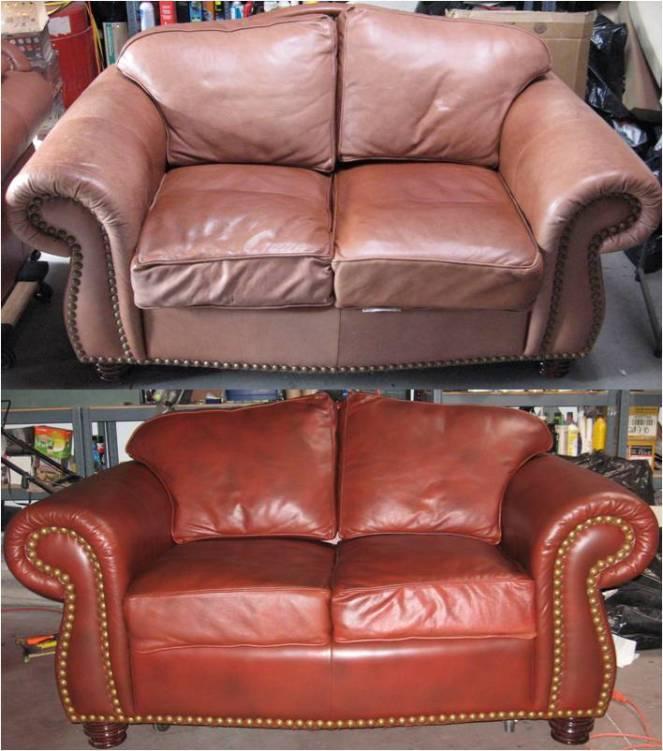 faded leather loveseat redye restoration